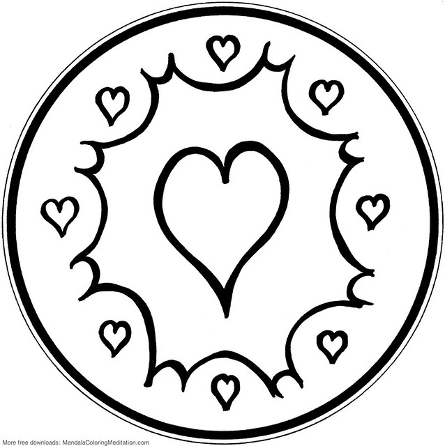 printable children coloring page  energy heart mandala