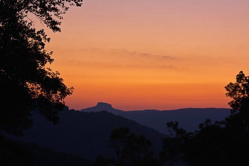 trees sky sun sunrise nc silhouettes northcarolina blueridgeparkway tablerock brp davidhopkinsphotography