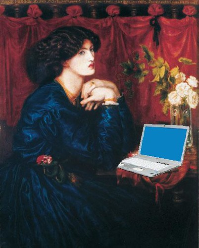 Jane Morris Blogging, after Dante Gabriel Rossetti