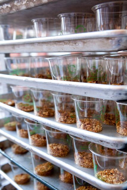 Trays of Beets, goat cheese, walnuts by David Chang, Momofuku, NYC
