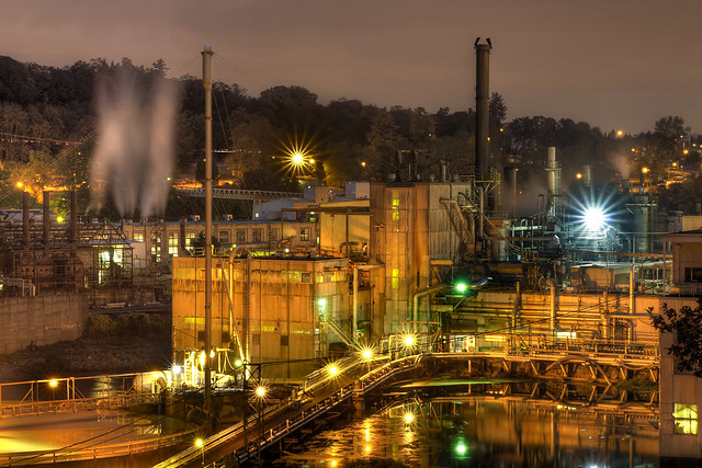 Hydro-Electric Power Plant at Night - HDR