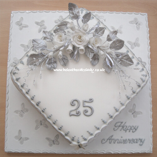 Simple 25th anniversary cake ideas 30667 silver wedding an for Silver wedding dresses 25th anniversary