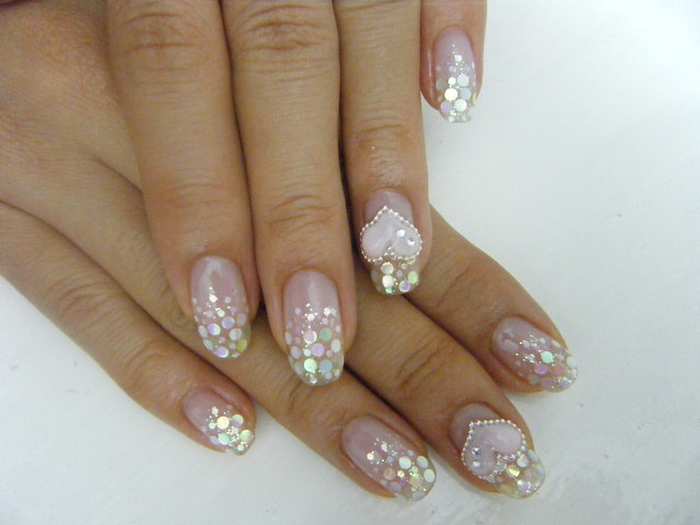 GEL NAIL with glitter and hologram(glitter) design with 3D heart ...