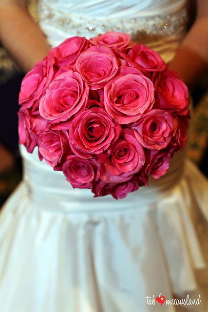 """Orlando"" hot pink rose bridal bouquet, 