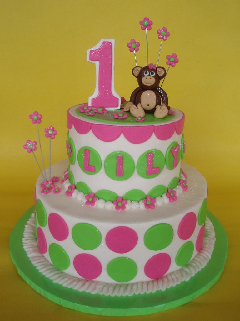 Little Girl Mod Monkey 1st Birthday Cake A Photo On Flickriver