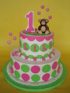 Little Girl Mod Monkey 1st Birthday Cake