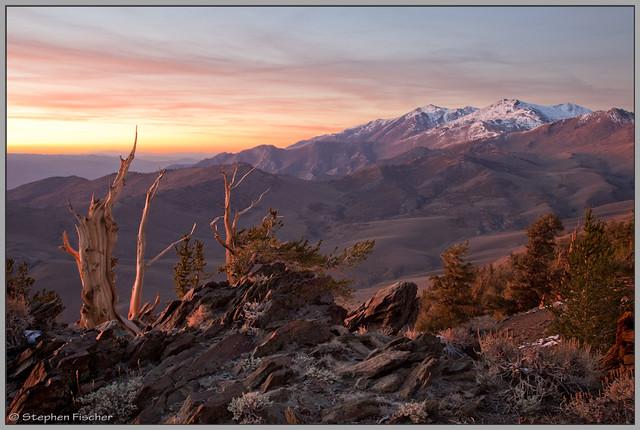 White mountains sunset