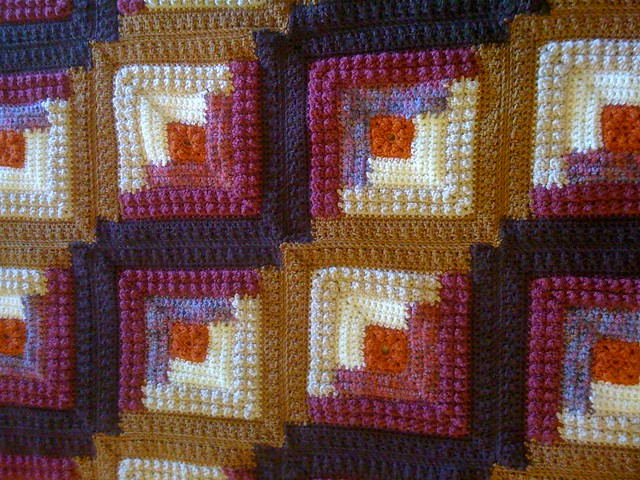 Crochet log cabin afghan flickr photo sharing for Log cabin blanket
