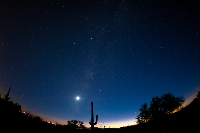 Sunset...Tucson...Stars...Moon...Milky Way...Cactus...Mountains...Desert...Fisheye