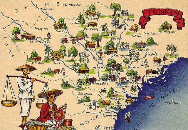 TONKIN - Bản đồ xứ Bắc Kỳ thuộc Pháp 1942