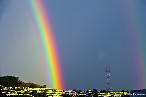 San Francisco lucky double rainbow by davidyuweb