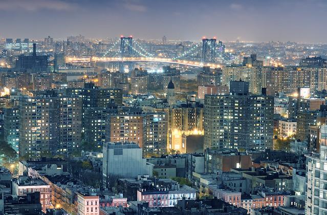 Lower East Side and Williamsburg Bridge at Night, New York City