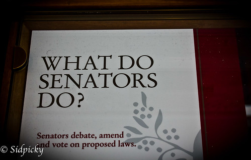 What do Senators do? Leave a witty comment on my blog and win...
