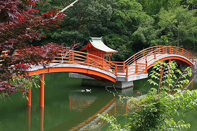 Japanese style vermilion colored arch bridge anji kamo for Japanese style bridge