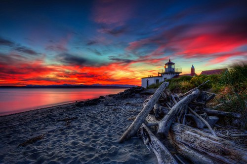 West Point Lighthouse Sunset HDR