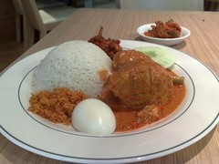 fried food(0.0), meatball(0.0), meal(1.0), curry(1.0), steamed rice(1.0), meat(1.0), food(1.0), dish(1.0), nasi lemak(1.0), cuisine(1.0),