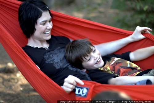 rachel & nick share the hammock