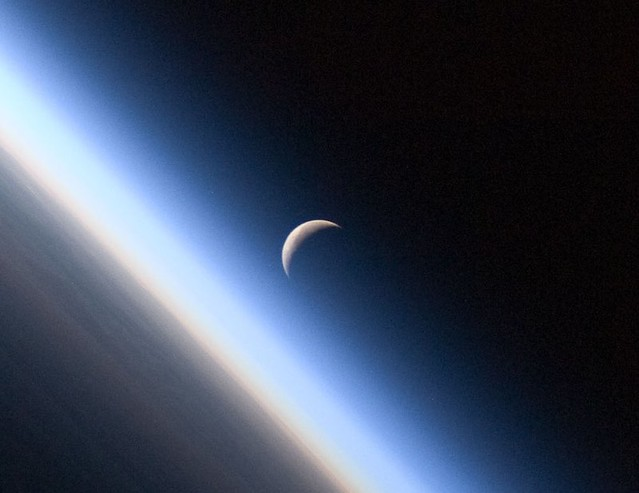 Detail: Crescent Moon, Earth's Atmosphere (NASA, International Space Station Science, 09/04/10)