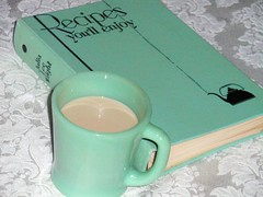 Fire King Jadite mug and vintage green recipe book