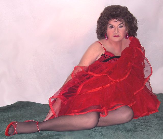 Me, modeling red and black, legs, and lingerie