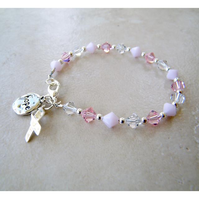 Swarovski crystal breast cancer charm bracelet flickr photo