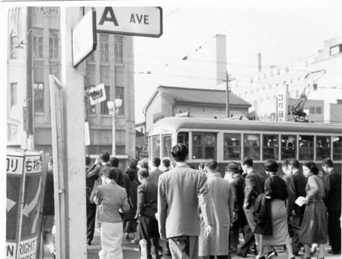 Streetcar in Tokyo near Shinbashi Station, circa 1955 by Rob Ketcherside