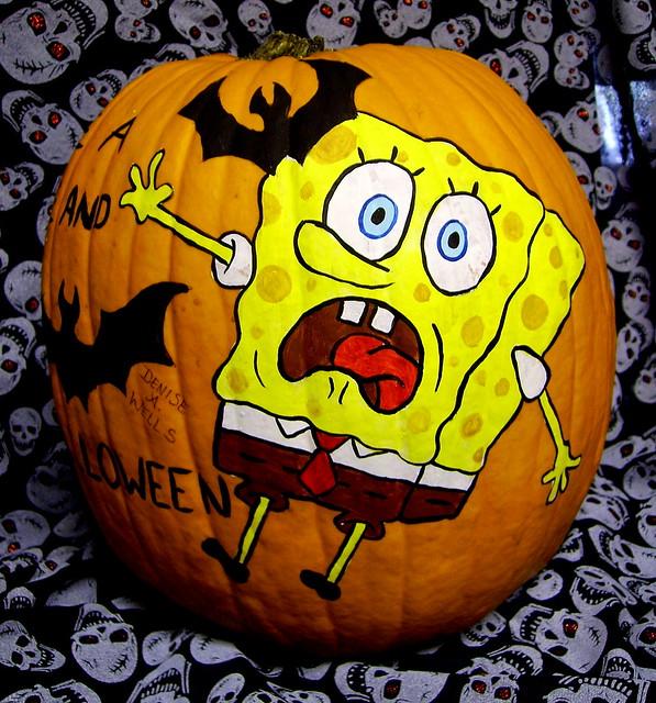 SpongeBob Pumpkin Painting by Denise A. Wells