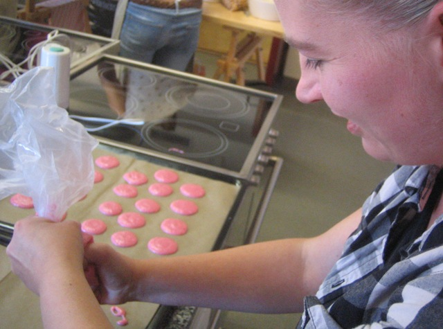 Klara in the making of our pink macaroons