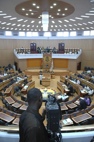 Lawmakers meet during a session of Parliament in Accra