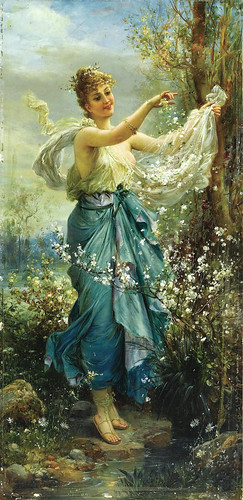"HANS ZATZKA (1859-1945), ""Girl with flowers"""