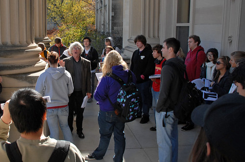 John Cunnally gives visual culture students a tour of Beardshear Hall and its classical architecture