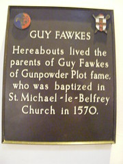 Photo of Guy Fawkes, Edward Fawkes, and Edith Fawkes bronze plaque