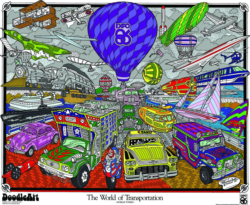 Doodle Art Transportation Coloring Page Poster