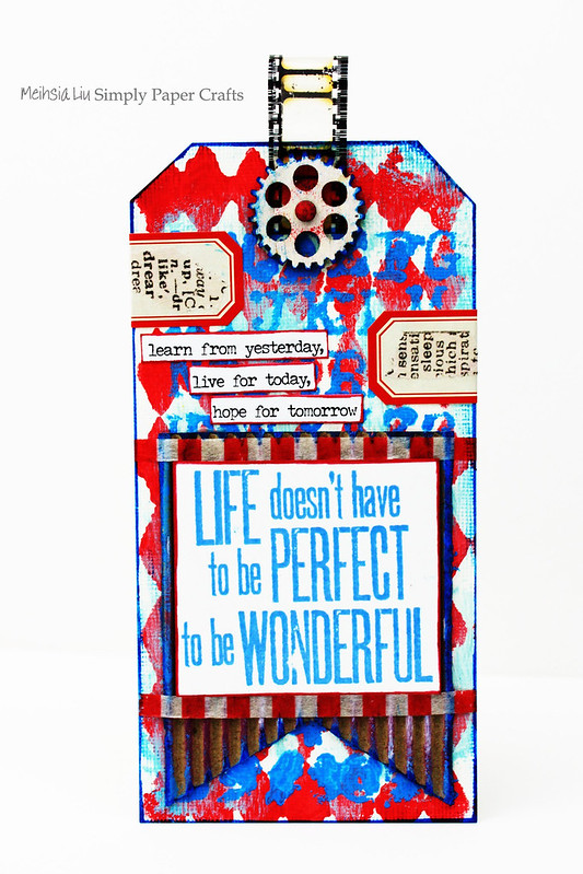 Meihsia Liu Simply Paper Crafts Mixed Media Tag Red White Blue Simon Says Stamp Tim Holtz 1