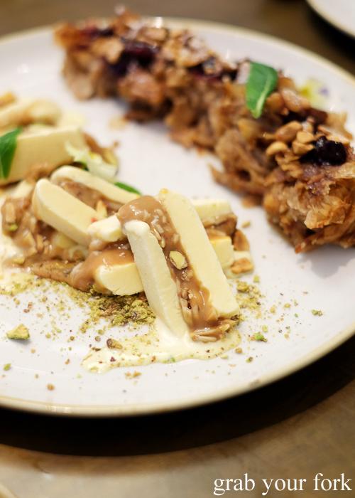 Caramel baklava ice cream with baklava at 1821 Greek restaurant in Sydney