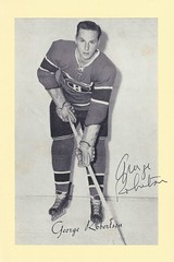 1944-63 NHL Beehive Hockey Photo / Group II - GEORGE ROBERTSON (Left Wing / Centre) - Autographed Hockey Card (Montreal Canadiens) (#286 / SP)
