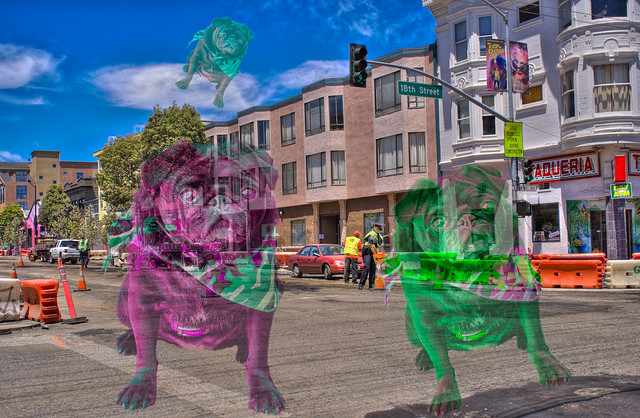 The Wild Phantom Pugs of the Mission District, Handheld HDR Collage