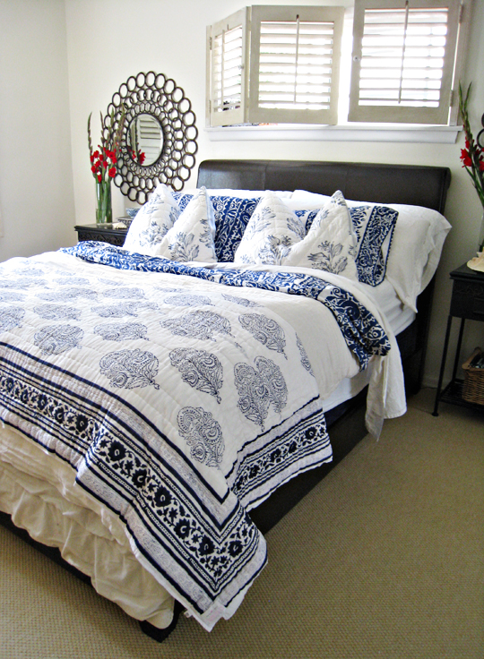 tropical beach bedroom decorating ideas+blue and white ...