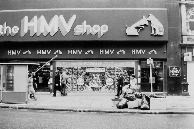 hmv 363 Oxford Street, London - exterior of store late 1970s