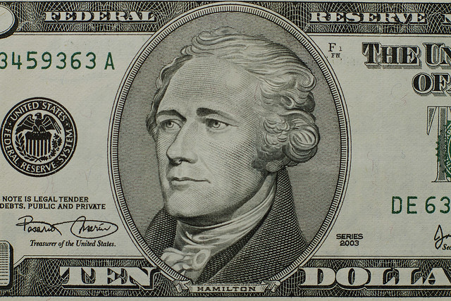 Alexander Hamilton's portrait on a US 10 dollar bill (2013)