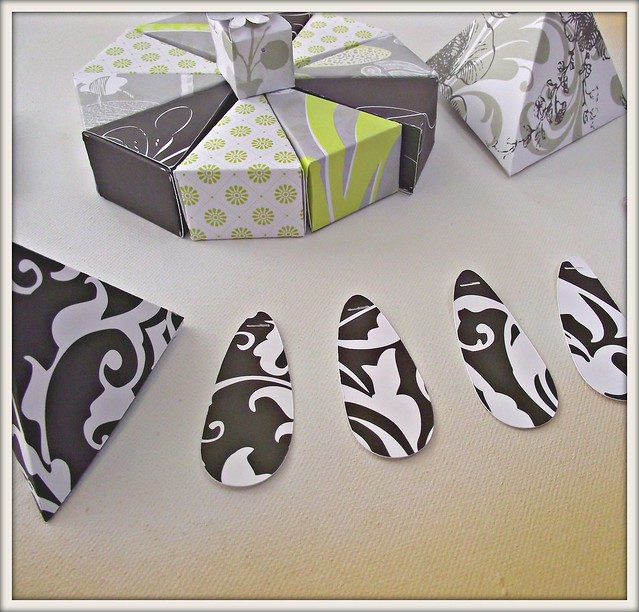 paper cake wedding favors tags boxes set black white lime green floral