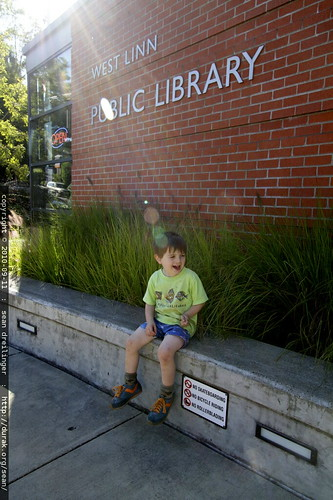 resting at our destination, the west linn public library