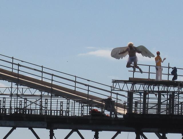 White Angel Birdman in flight - Birdman of Bognor 2010