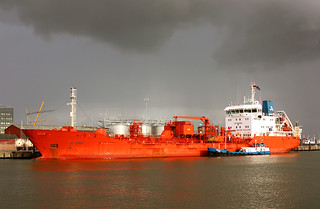 Tanker JO SPIRIT with crude alcohol for the Bacardi  depot  in Cuxhaven