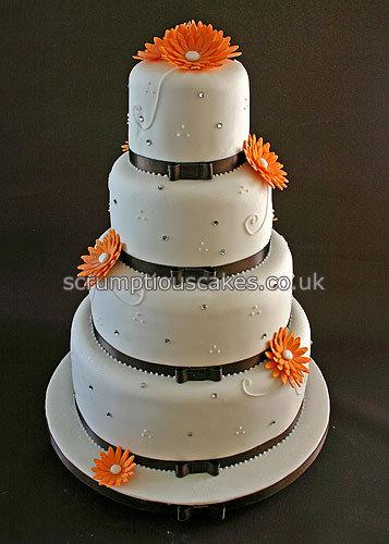 Wedding Cake Orange Sugar Gerberas Diamantes