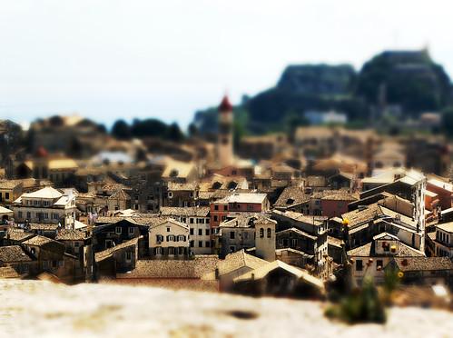 Tilt-shift effect on Corfu City