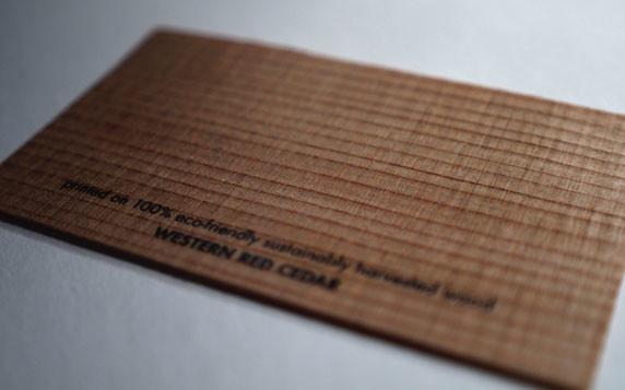 Wood Business Cards Western Red Cedar