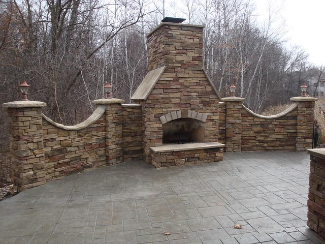 Outdoor Dry Stack Cultered Stone Fireplace Full View Flickr
