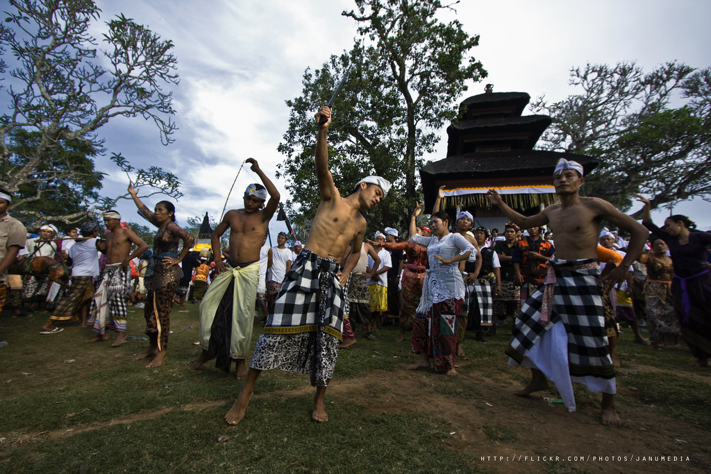 bali sacred image : People trances and dancing welcom to Jempana at Gumang Hill Temple, Bugbug, Karangasem