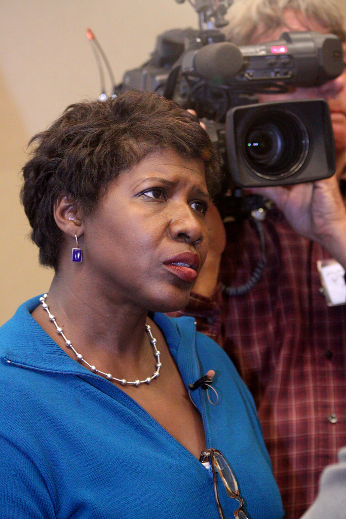 Gwen Ifill  Interviewer with PBS Gwen Ifill at a rally in E